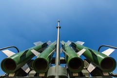 Missiles of the Russian self-propelled medium-range surface-to-air missile system  Buk-M2 against the blue sky Royalty Free Stock Image