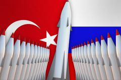Missiles of Turkey and Russia in a row and their flags Royalty Free Stock Photography