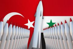 Missiles of Turkey and Syria in a row and their flags Royalty Free Stock Photos