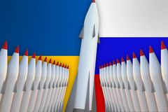Missiles of Ukraine and Russia in a row and their flags Stock Image