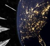 Missili nucleari d'avvicinamento che attaccano gli Stati Uniti Fotografie Stock Libere da Diritti