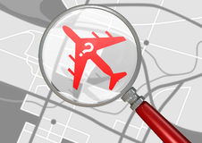 Missing Airplane And Magnifying Glass Royalty Free Stock Photo
