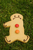 Missing arm. A gingerbread man is sad to loose a limb stock images