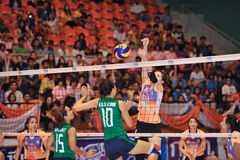 Missing block in volleyball players chaleng Stock Photos