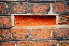 Missing brick. The missing brick in the wall Stock Images