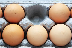 Missing brown egg. One brown egg missing from a gray cardboard carton with five still visible Royalty Free Stock Photos
