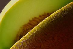 Missing cantaloupe slice. Missing slice of cantaloupe or cantaloupe opening. Cucumis melo reticulatus (var. cantalupensis), introduced to Cantalupo, Italy, from stock photos