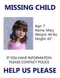 Missing Child Poster, Amber Alert. Missing child poster and amber alert concept. A young girl is pictured as being abducted, raped, or murdered. Exploitation of Stock Images