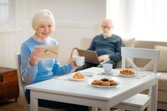 Couple of cheerful seniors being together royalty free stock image