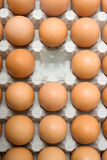 Missing egg. One egg is missing from the cart of chicken eggs Royalty Free Stock Photo