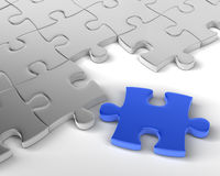 The Missing Element. Blue Jigsaw piece is Missing Element. 3D rendered reflective on white background Royalty Free Stock Image