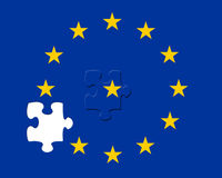 Missing EU jigsaw piece. European Union flag with a missing piece Stock Illustration