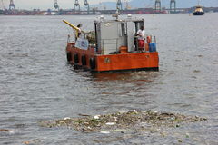 Missing five months for Olympics the Guanabara Bay waters are rotten Stock Photography