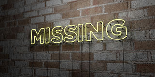 MISSING - Glowing Neon Sign on stonework wall - 3D rendered royalty free stock illustration Stock Photos