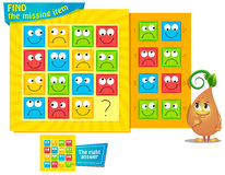 Missing item smile. Visual Game for children. Task: find the missing item Royalty Free Stock Photos