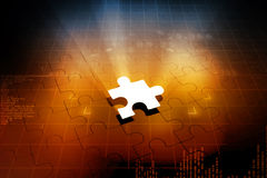 Missing jigsaw puzzle. Piece with light glow Stock Images