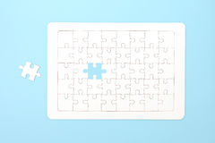 Missing jigsaw puzzle pieces. Business concept. Compliting final puzzle task Stock Photo