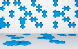 Missing jigsaw puzzle pieces in unfinished work concept. Blue Royalty Free Stock Image