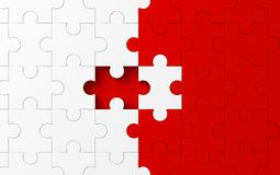 Missing jigsaw puzzle pieces in unfinished work, strategy and so. Lution business concept. White and red pattern texture background. 3d abstract illustration vector illustration