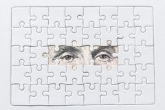 Missing jigsaw puzzle pieces on USA dollar background. Business solution concept Stock Photos