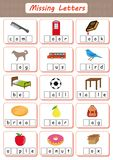 Missing letters, Find the missing letters and write them in relevant places, Worksheet for kids, dyslexia, learning disabilities. Missing letters, Find the royalty free illustration