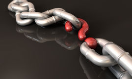 Missing Link. A chain with a question mark as one of its links Stock Photo