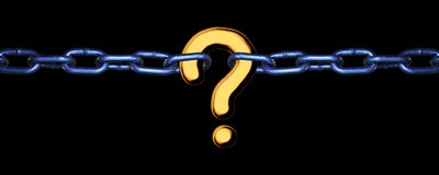 Missing Link - gold on black. A question mark linking two chains - the missing link Stock Image