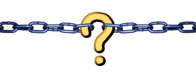 Missing Link - gold on white. A question mark linking two chains - the missing link Royalty Free Stock Images