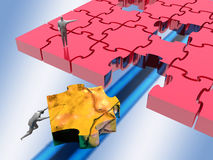 The missing link, jigsaw puzzle. stock illustration
