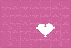 Missing Love. Puzzle with one missing heart shaped part. Vectoral drawing Royalty Free Stock Photo
