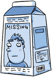 Missing Milk. A missing person notice on a cartoon carton of milk Royalty Free Stock Image