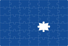 Missing Part. Puzzle with one missing part. Vectoral drawing Stock Images