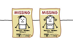 Missing people. Hand drawn cartoon characters - missing people Royalty Free Stock Photo