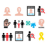 Missing people - man and woman, missing children icons set Royalty Free Stock Photography