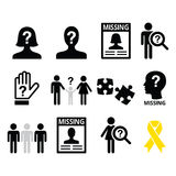 Missing people, missing child icons set Stock Image