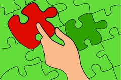 Missing Piece. A person finding the missing piece to the puzzle Royalty Free Stock Photos