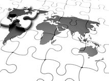 The missing piece. 3D render of a jigsaw puzzle with a world map with final piece just added Stock Photos