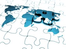 The missing piece. 3D render of a jigsaw of a world map with the final piece just added Stock Photography