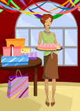 Missing a Piece. Woman holds birthday cake, surrounded by gifts and streamers... a sly smile on her face and a piece missing from the cake Stock Illustration