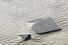 Missing piece of a broken paving stone puzzle Royalty Free Stock Image