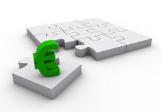 The missing piece is finance 2. The missing piece is finance euro sign white jigsaw puzzle Royalty Free Stock Photography