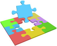Missing piece find problem solution. Search for missing puzzle piece to help find problem solution answer question Royalty Free Stock Image