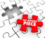The Missing Piece Found Puzzle Complete Finishing Finding Lost F. The Missing Piece words on a red puzzle piece to complete a puzzle and finish, end or wrap up a Royalty Free Stock Photography