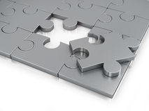 Missing Piece of Jigsaw Puzzle. Isolated on white background Royalty Free Stock Images