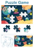 Missing piece puzzle game with alien space animals. Missing piece puzzle game for kids with alien space animals and ufo - vector illustration Royalty Free Stock Photos