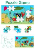 Missing piece puzzle game with bird in hammock. Missing piece puzzle game for children with cute relaxing bird in hammock - vector illustration Stock Photo