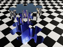 Missing puzzle piece. Of checkered surface Stock Photography