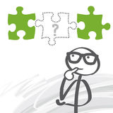 Missing Puzzle Piece_gb. Stick figure seeking solutions - Missing Puzzle Piece Stock Photos