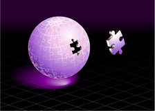 Missing Puzzle Piece on Purple Globe. Original Vector Illustration Incomplete Globe Puzzle Ideal for Unity Concept royalty free illustration