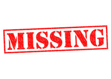 MISSING. Red Rubber Stamp over a white background Royalty Free Stock Image